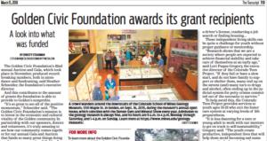 Golden Transcript article: Golden Civic Foundation awards its grant recipients